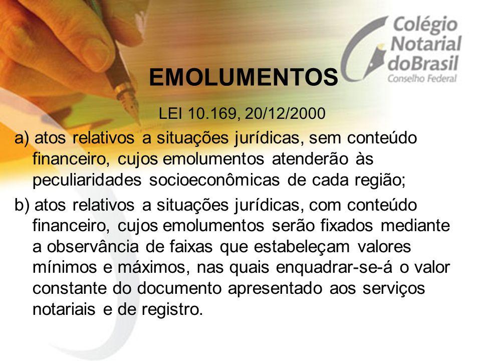 EMOLUMENTOS LEI 10.169, 20/12/2000.
