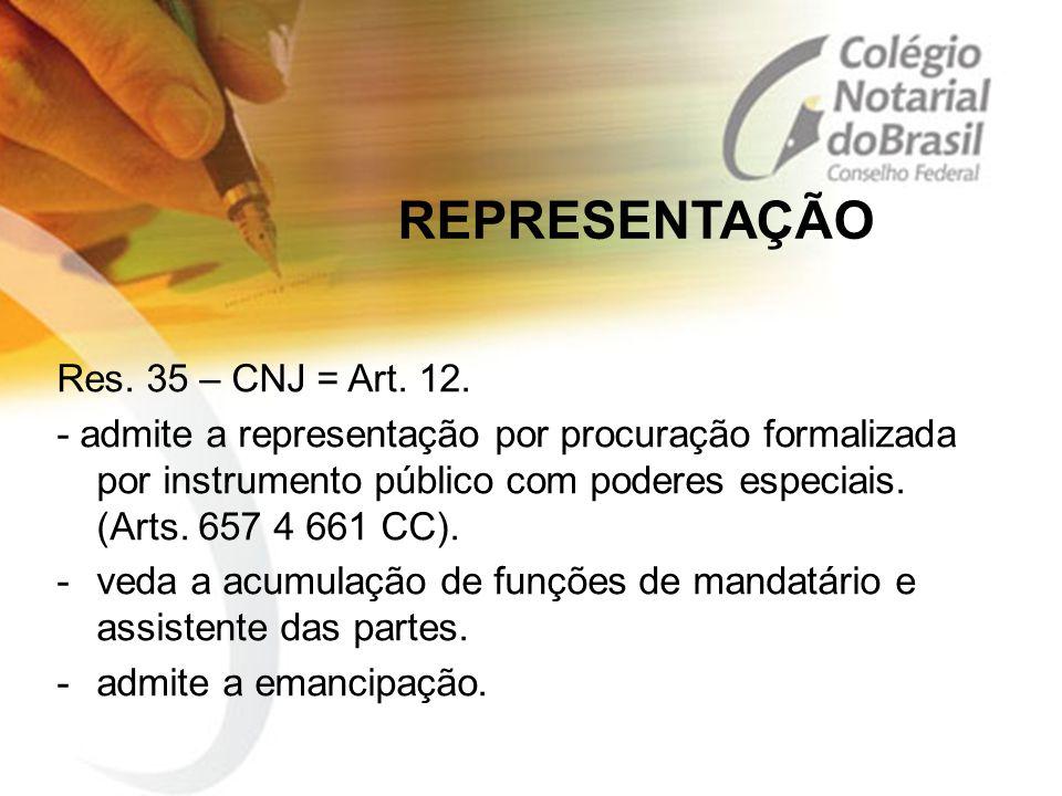 REPRESENTAÇÃO Res. 35 – CNJ = Art. 12.