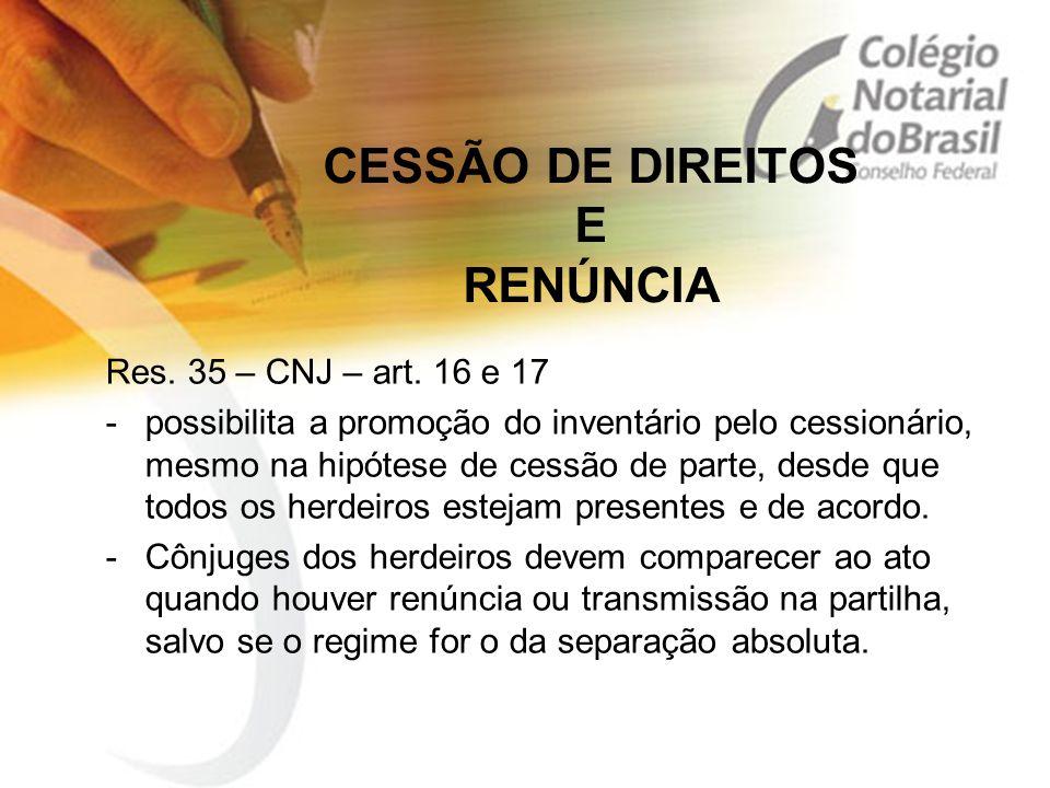 CESSÃO DE DIREITOS E RENÚNCIA