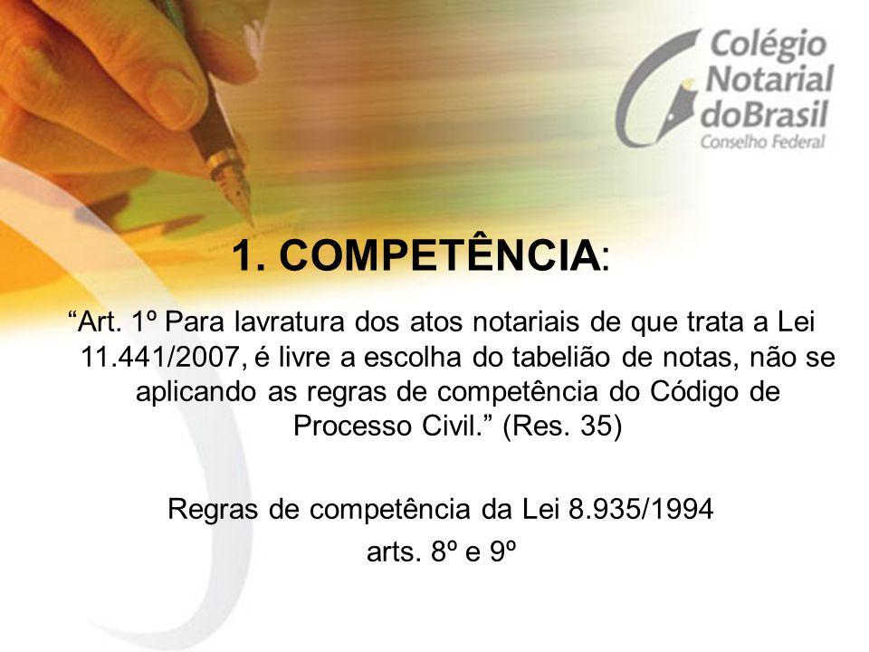 Regras de competência da Lei 8.935/1994