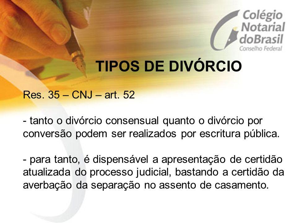 TIPOS DE DIVÓRCIO Res. 35 – CNJ – art. 52