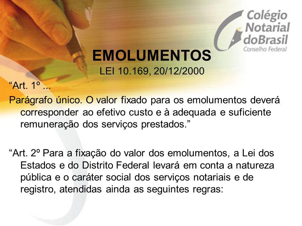 EMOLUMENTOS LEI 10.169, 20/12/2000 Art. 1º ...