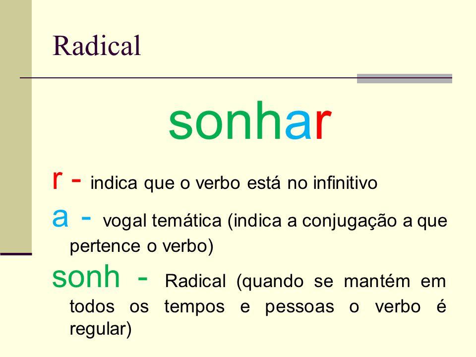 sonhar r - indica que o verbo está no infinitivo