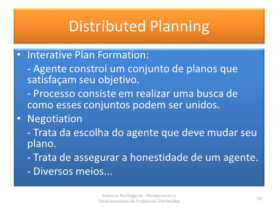 Distributed Planning Interative Plan Formation: