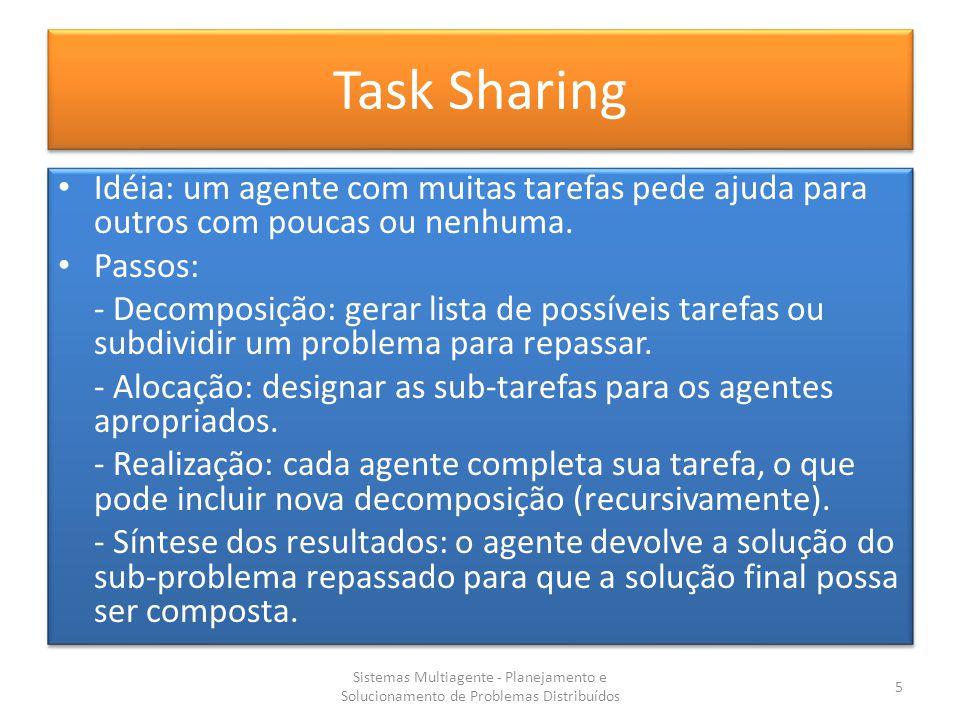 Task Sharing Idéia: um agente com muitas tarefas pede ajuda para outros com poucas ou nenhuma. Passos: