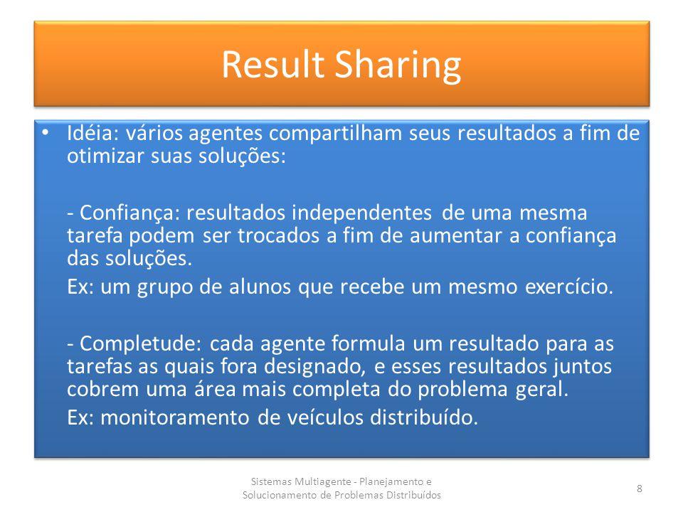Result Sharing Idéia: vários agentes compartilham seus resultados a fim de otimizar suas soluções: