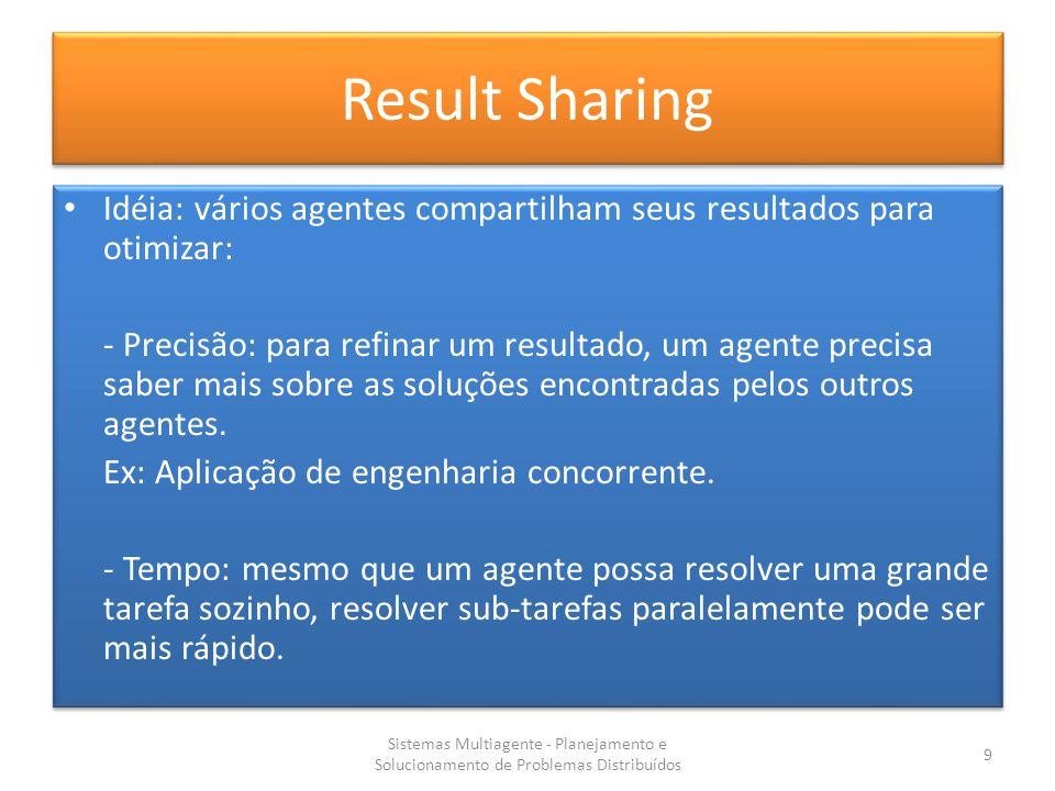 Result Sharing Idéia: vários agentes compartilham seus resultados para otimizar: