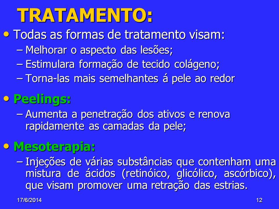 TRATAMENTO: Todas as formas de tratamento visam: Peelings:
