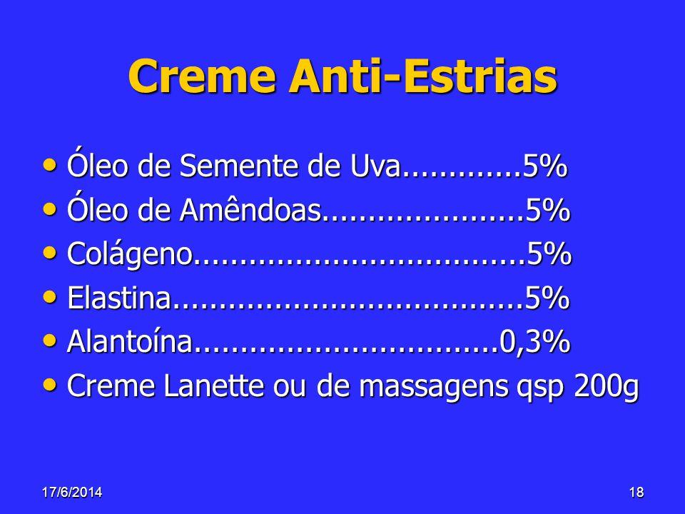 Creme Anti-Estrias Óleo de Semente de Uva.............5%