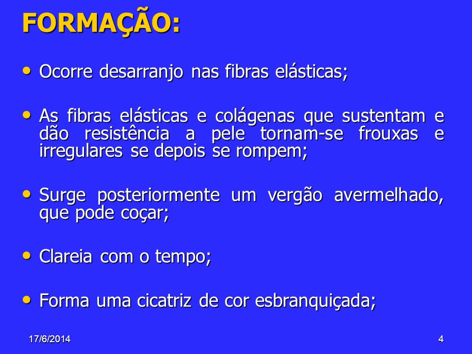 FORMAÇÃO: Ocorre desarranjo nas fibras elásticas;
