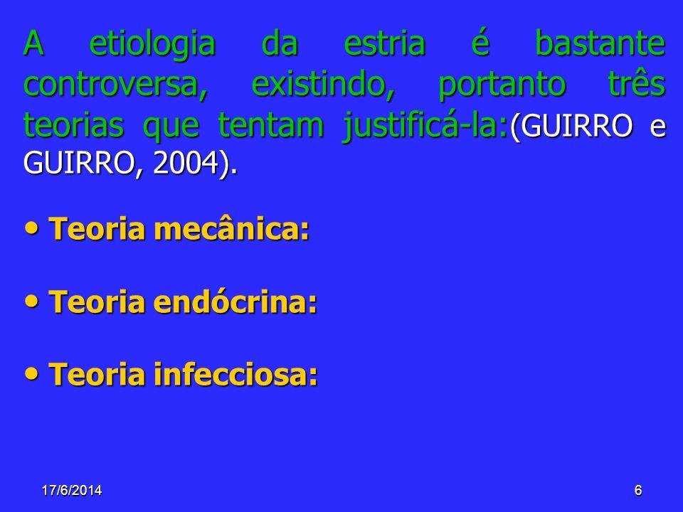 A etiologia da estria é bastante controversa, existindo, portanto três teorias que tentam justificá-la:(GUIRRO e GUIRRO, 2004).