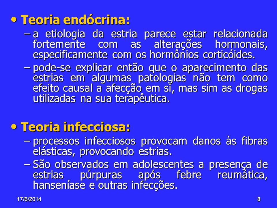 Teoria endócrina: Teoria infecciosa: