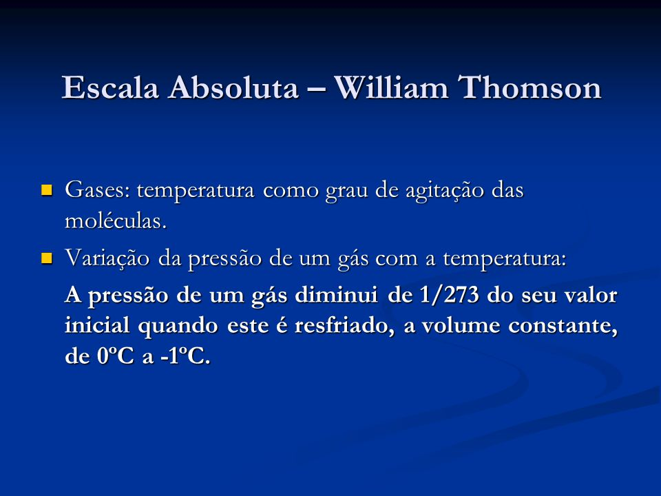 Escala Absoluta – William Thomson