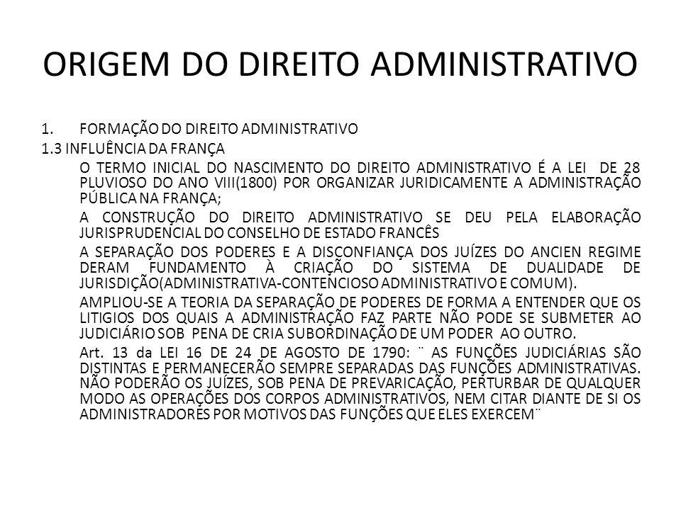 ORIGEM DO DIREITO ADMINISTRATIVO