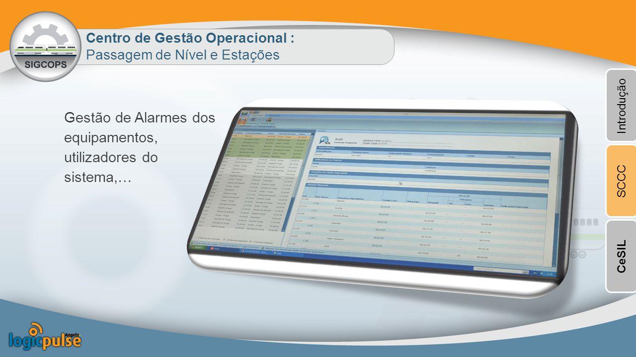 Gestão de Alarmes dos equipamentos, utilizadores do sistema,…