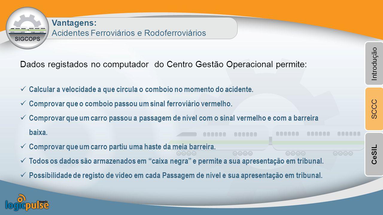 Dados registados no computador do Centro Gestão Operacional permite: