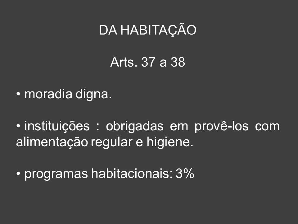 DA HABITAÇÃO Arts. 37 a 38. moradia digna. instituições : obrigadas em provê-los com alimentação regular e higiene.