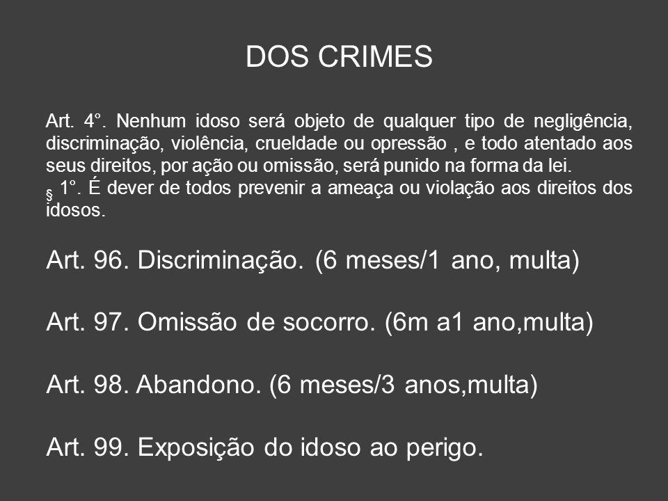 DOS CRIMES Art. 96. Discriminação. (6 meses/1 ano, multa)