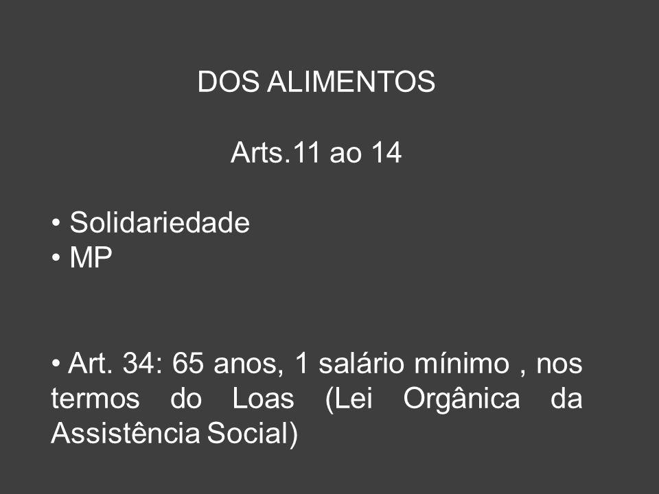 DOS ALIMENTOS Arts.11 ao 14. Solidariedade. MP.