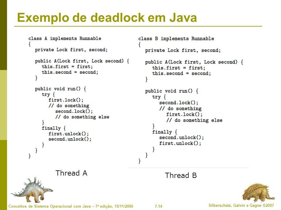 Exemplo de deadlock em Java