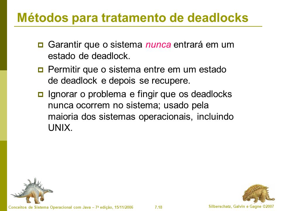 Métodos para tratamento de deadlocks