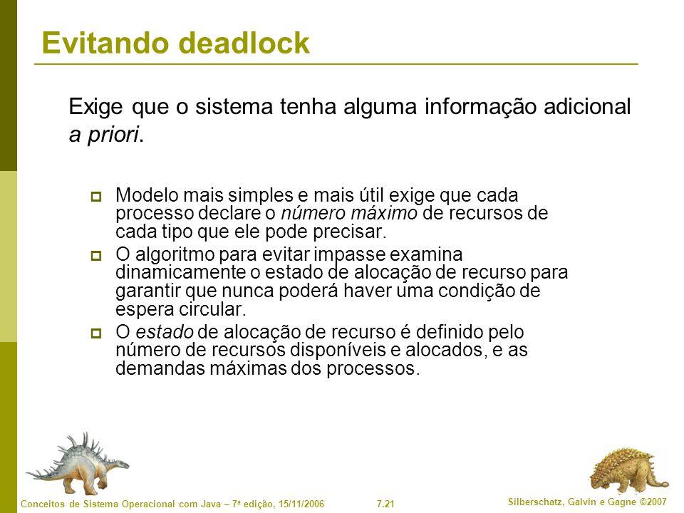 Evitando deadlock Exige que o sistema tenha alguma informação adicional a priori.