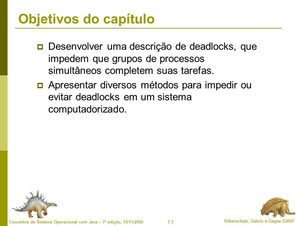 Objetivos do capítulo Desenvolver uma descrição de deadlocks, que impedem que grupos de processos simultâneos completem suas tarefas.
