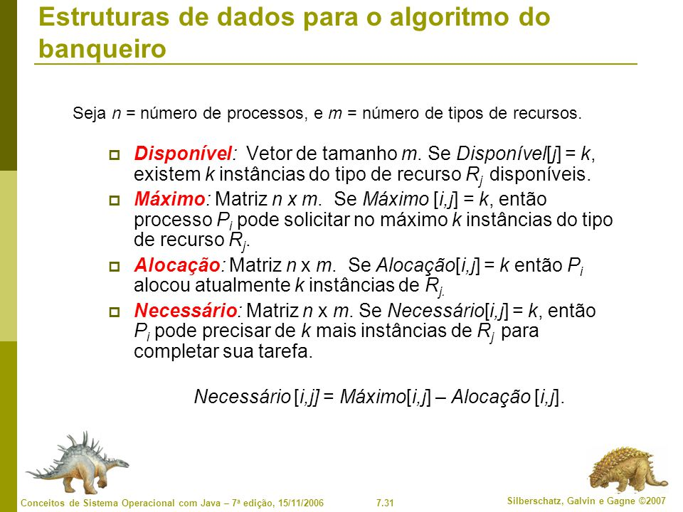 Estruturas de dados para o algoritmo do banqueiro