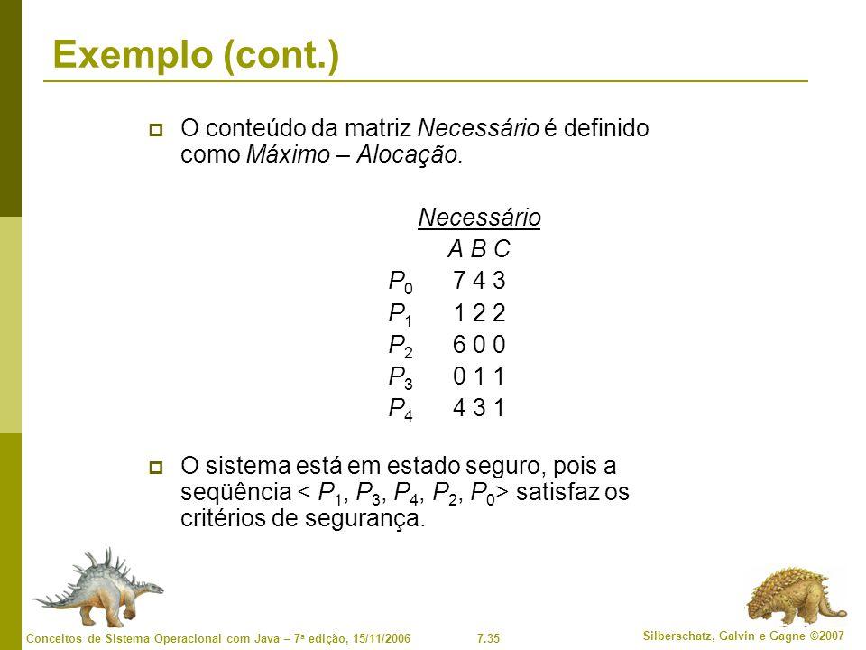 Exemplo (cont.) O conteúdo da matriz Necessário é definido como Máximo – Alocação. Necessário. A B C.