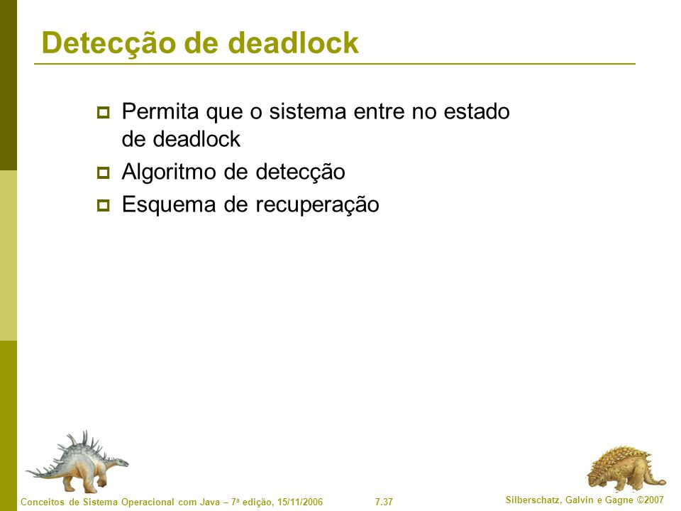 Detecção de deadlock Permita que o sistema entre no estado de deadlock