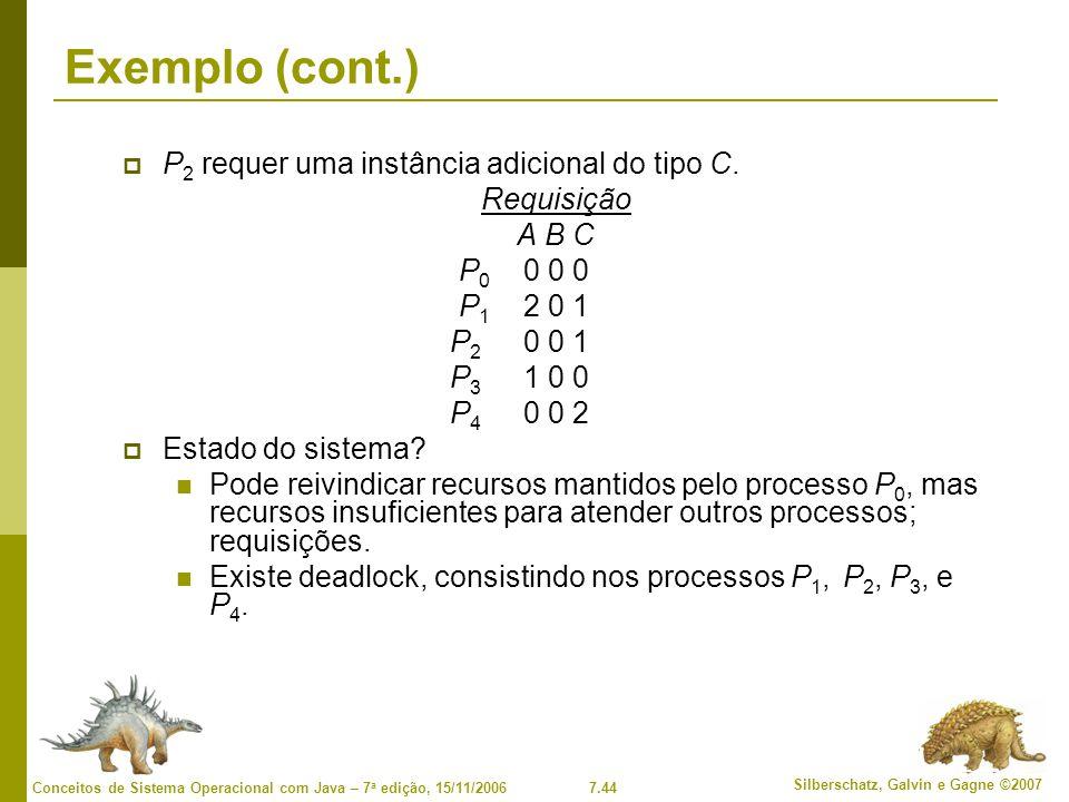 Exemplo (cont.) P2 requer uma instância adicional do tipo C.