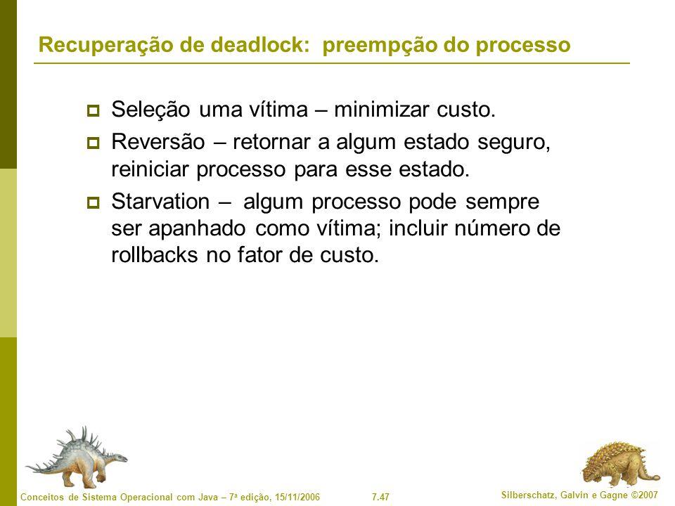 Recuperação de deadlock: preempção do processo