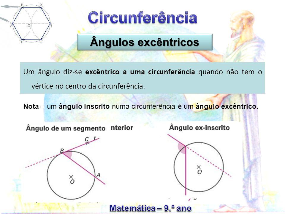 Ângulos excêntricos Um ângulo diz-se excêntrico a uma circunferência quando não tem o vértice no centro da circunferência.