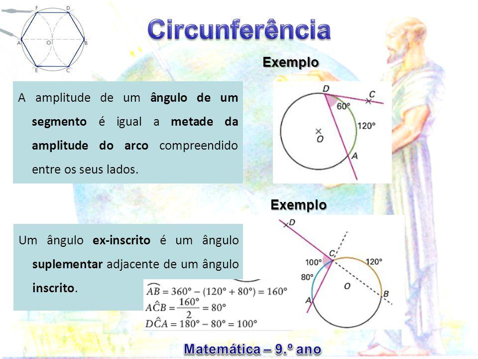 Exemplo A amplitude de um ângulo de um segmento é igual a metade da amplitude do arco compreendido entre os seus lados.