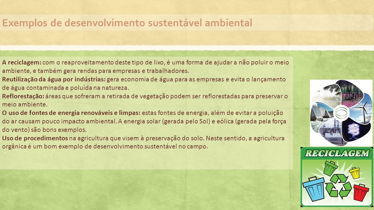 Exemplos de desenvolvimento sustentável ambiental