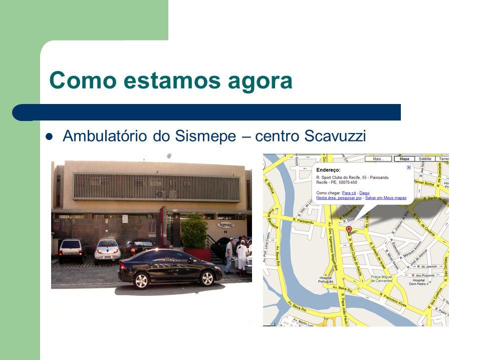 Como estamos agora Ambulatório do Sismepe – centro Scavuzzi