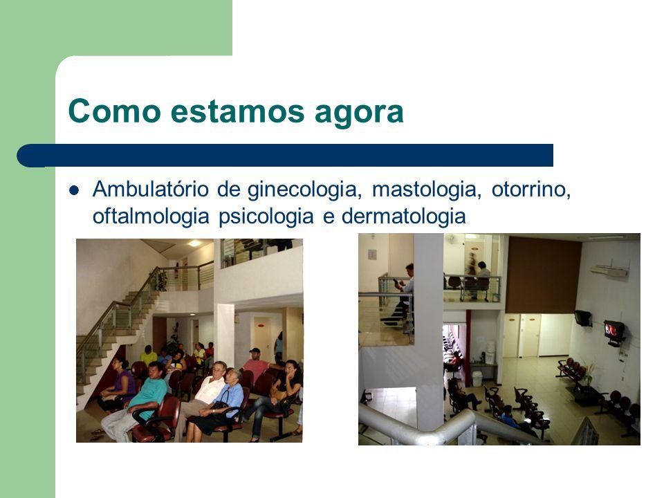 Como estamos agora Ambulatório de ginecologia, mastologia, otorrino, oftalmologia psicologia e dermatologia.