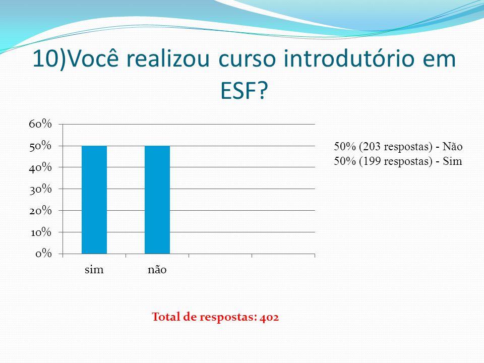 10)Você realizou curso introdutório em ESF