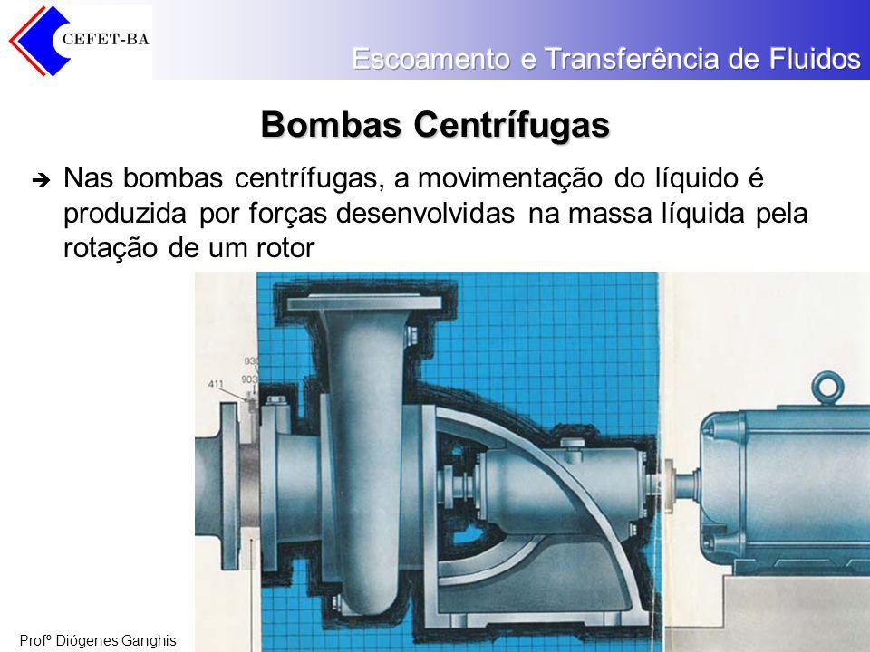 Bombas Centrífugas Nas bombas centrífugas, a movimentação do líquido é produzida por forças desenvolvidas na massa líquida pela rotação de um rotor.