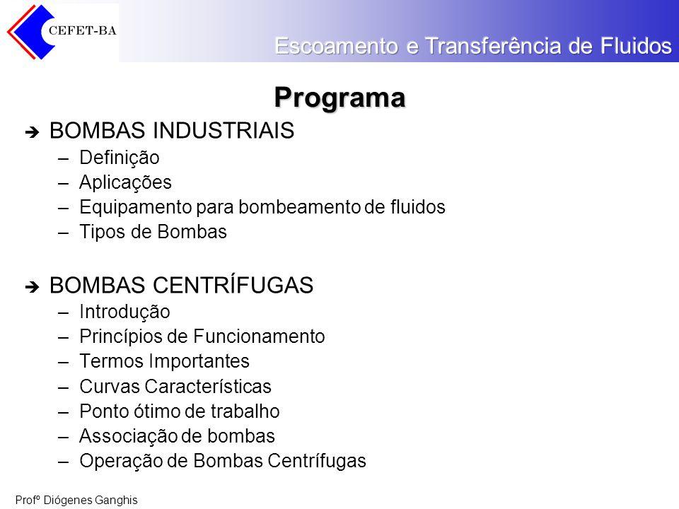 Programa BOMBAS INDUSTRIAIS BOMBAS CENTRÍFUGAS Definição Aplicações