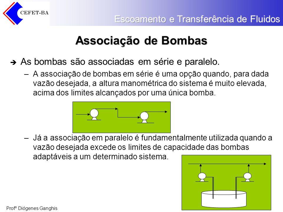 Associação de Bombas As bombas são associadas em série e paralelo.