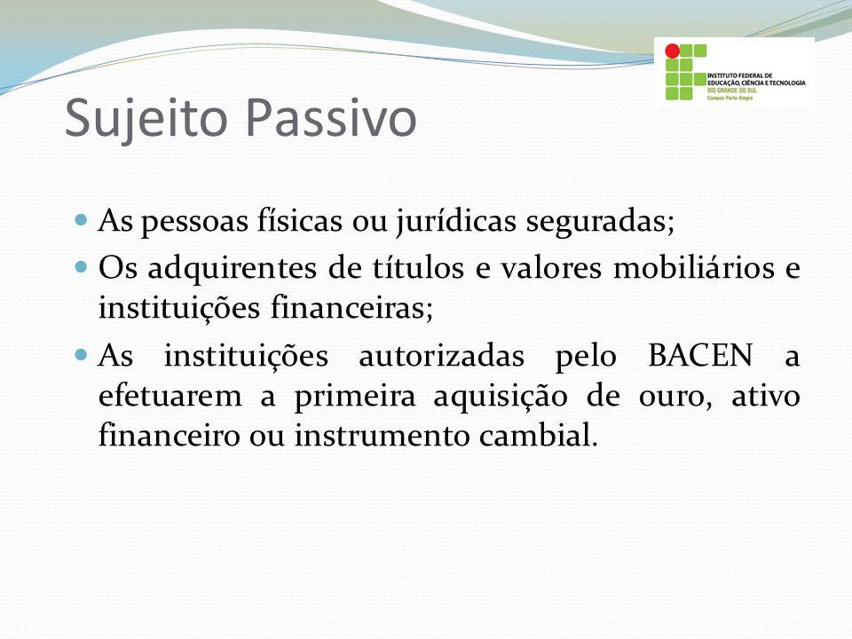Sujeito Passivo As pessoas físicas ou jurídicas seguradas;