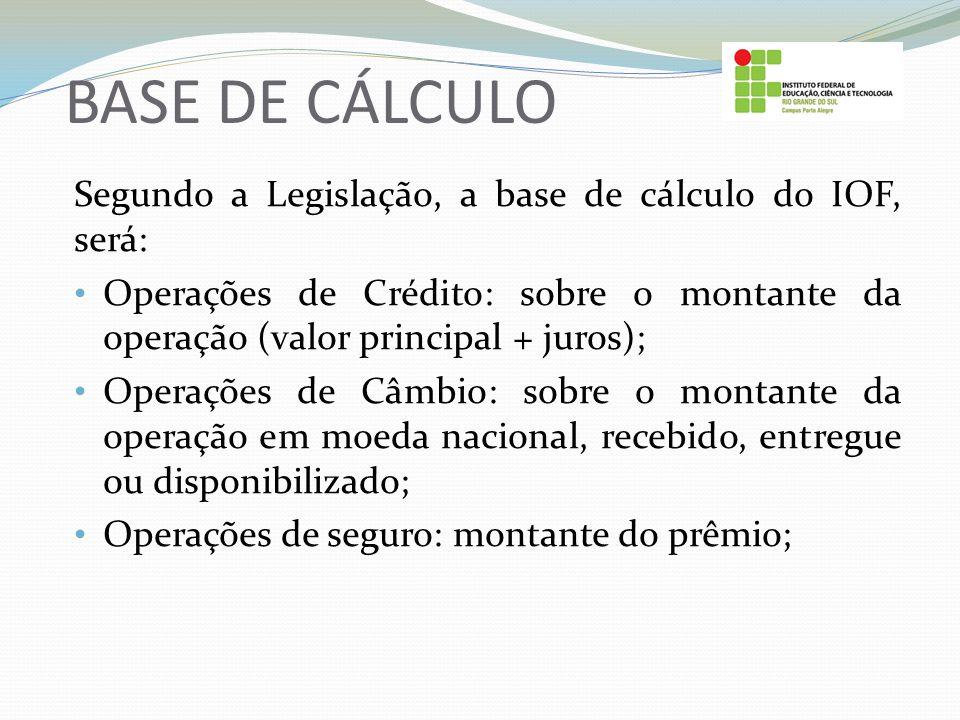 BASE DE CÁLCULO Segundo a Legislação, a base de cálculo do IOF, será: