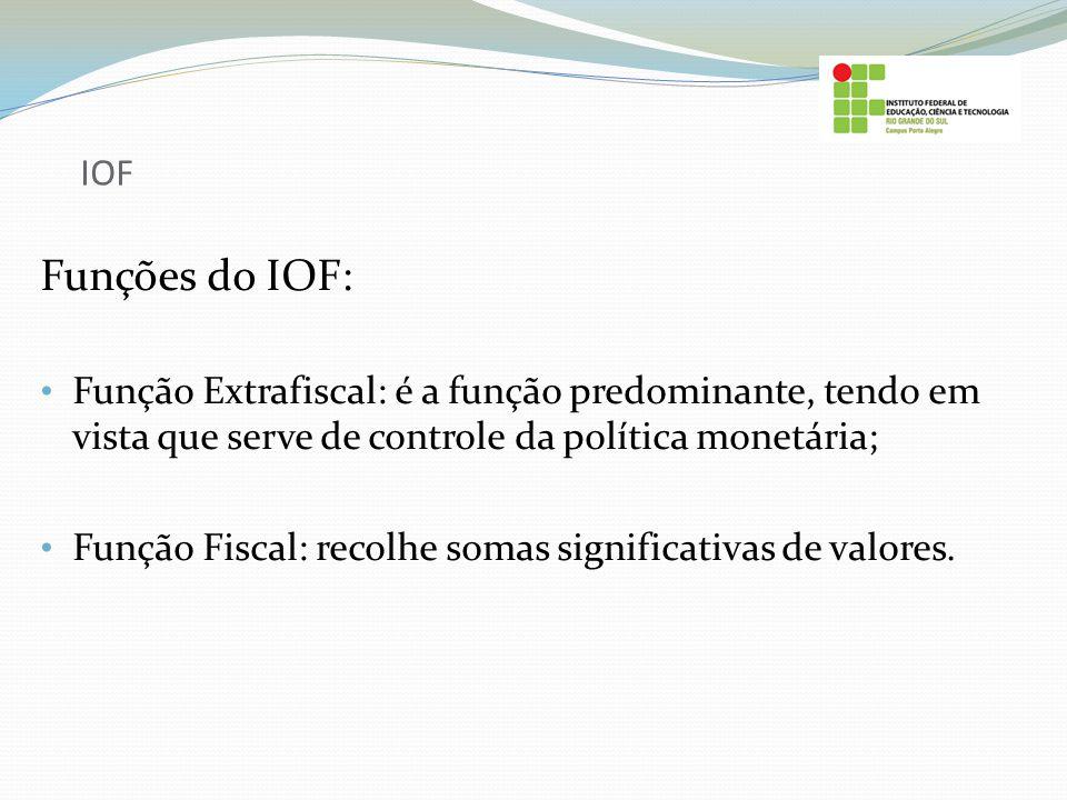 IOF Funções do IOF: Função Extrafiscal: é a função predominante, tendo em vista que serve de controle da política monetária;