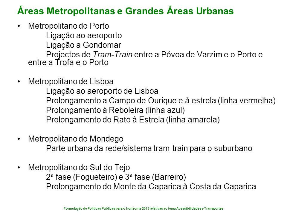 Áreas Metropolitanas e Grandes Áreas Urbanas