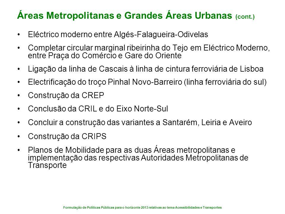 Áreas Metropolitanas e Grandes Áreas Urbanas (cont.)
