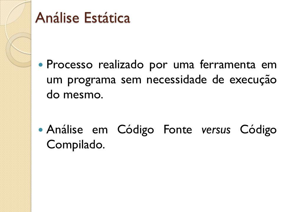 Análise Estática Processo realizado por uma ferramenta em um programa sem necessidade de execução do mesmo.