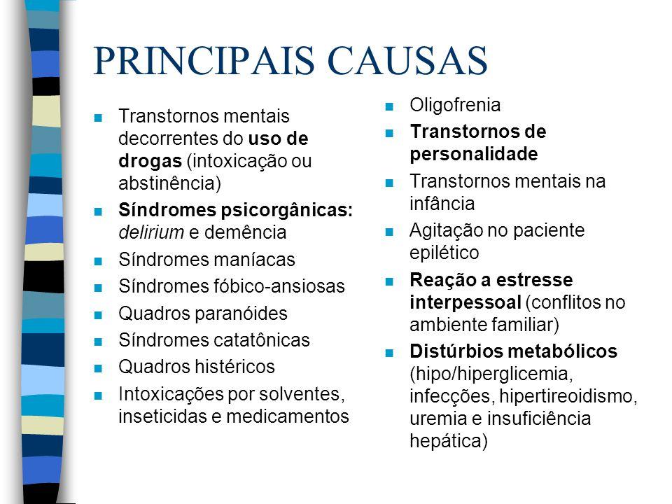PRINCIPAIS CAUSAS Oligofrenia Transtornos de personalidade