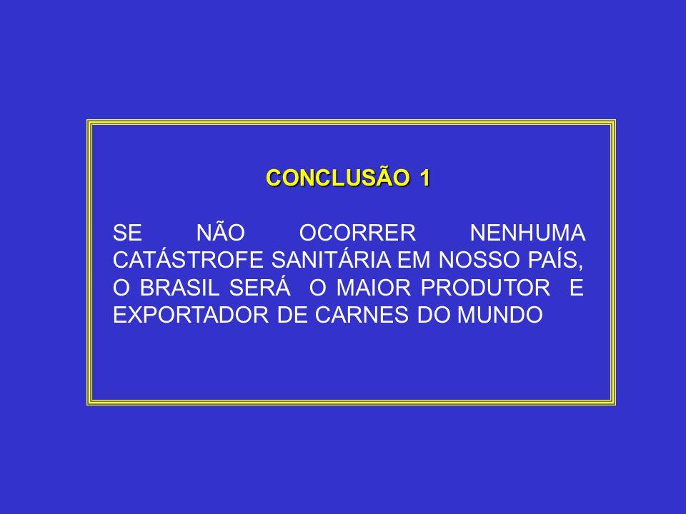 CONCLUSÃO 1 SE NÃO OCORRER NENHUMA CATÁSTROFE SANITÁRIA EM NOSSO PAÍS, O BRASIL SERÁ O MAIOR PRODUTOR E EXPORTADOR DE CARNES DO MUNDO.