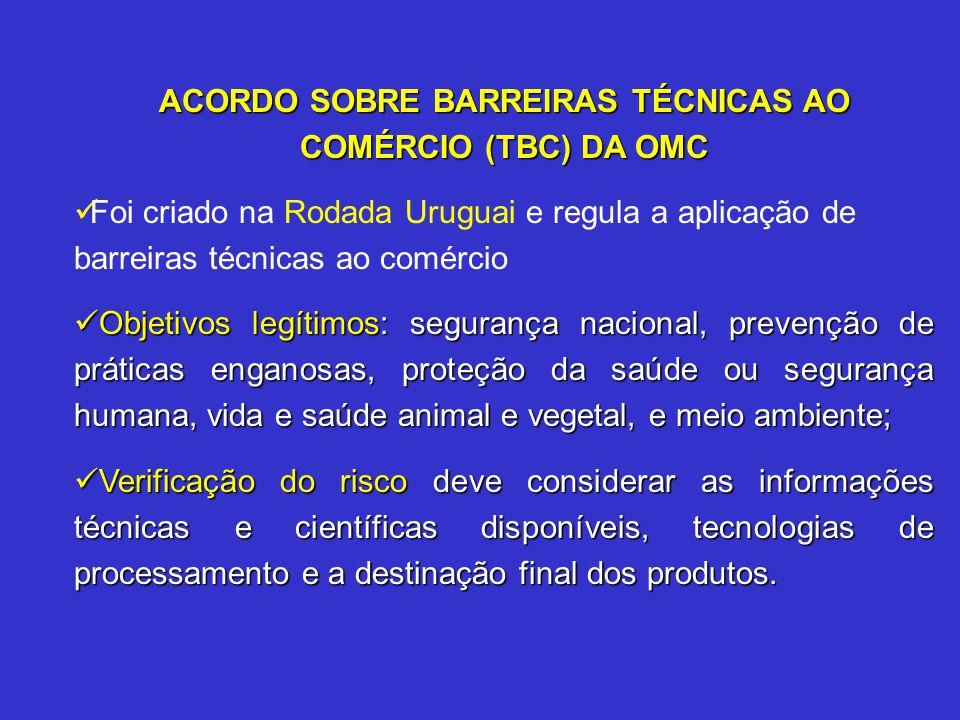 ACORDO SOBRE BARREIRAS TÉCNICAS AO COMÉRCIO (TBC) DA OMC